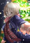 1girl artoria_pendragon_(all) blue_jacket blue_sweater blurry blurry_background blush christmas_tree eyebrows_visible_through_hair fate/grand_order fate_(series) glasses hair_between_eyes highres jacket long_sleeves looking_at_viewer looking_over_eyewear mysterious_heroine_x_(alter) night open_clothes open_jacket open_mouth outdoors plaid plaid_scarf reaching red_scarf scarf semi-rimless_eyewear silver_hair snowing solo sweater tiri_man under-rim_eyewear upper_body yellow_eyes