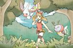 1girl blue_sky breasts brown_hair bush clouds cloudy_sky creature day flying gen_3_pokemon grey_eyes hair_ribbon haruka_(pokemon) masquerain mizuto_(o96ap) pokemon pokemon_(creature) pokemon_(game) pokemon_oras red_shirt ribbon seedot shirt shorts sky small_breasts tree walking