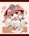 1girl anchor_hair_ornament atlanta_(kantai_collection) bag_of_chips bangs bloom2425 blue_eyes breasts brown_hair bugles bugles_on_fingers chips commentary_request earrings food food_in_mouth food_on_face garrison_cap hair_ornament hat headgear heart highres jewelry kantai_collection large_breasts long_hair simple_background single_earring solo star star_earrings twintails upper_body