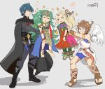 2boys 2girls absurdres angel_wings armor artist_name barefoot blonde_hair blue_eyes blue_hair braid brown_hair byleth_(fire_emblem) byleth_(fire_emblem)_(male) cape dress fire_emblem fire_emblem:_three_houses green_hair grey_background grin hair_ornament highres holding karbuitt kid_icarus kid_icarus_uprising long_hair multiple_boys multiple_girls nachure open_mouth pit_(kid_icarus) pointy_ears ponytail ribbon_braid short_hair simple_background smile sothis_(fire_emblem) super_smash_bros. tiara twin_braids wings