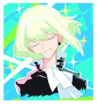 1boy androgynous black_jacket closed_eyes cravat crossdressing earrings green_hair happy jacket jewelry lio_fotia male_focus mugshot nekonomlcon nusumenaihxseki otoko_no_ko promare short_hair smile solo tusia