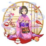 1girl :d blue_eyes brown_hair chopsticks daruma_doll floral_print flower full_body hair_flower hair_ornament highres holding holding_chopsticks japanese_clothes kimono kneeling long_sleeves looking_at_viewer official_art open_mouth pink_flower pink_kimono print_kimono purple_flower ronye_arabel shiny shiny_hair short_hair smile solo sword_art_online transparent_background wide_sleeves yukata