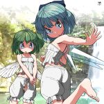 2girls artist_name bare_arms bare_shoulders barefoot bloomers blue_bow blue_eyes blue_hair blush bow camisole cirno collarbone daiyousei flat_chest green_eyes green_hair hair_between_eyes hair_bow hands_together highres huxiao_(mistlakefront) ice ice_wings leg_up looking_back multiple_girls open_mouth ponytail short_hair touhou underwear water waterfall wings yellow_bow