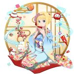 1girl alice_schuberg bangs blonde_hair blue_eyes blue_kimono cup daruma_doll floating_hair floral_print flower full_body gradient_kimono hair_flower hair_intakes hair_ornament hairband highres holding japanese_clothes kimono kneeling long_sleeves looking_at_viewer official_art parted_lips pink_flower pink_hairband print_kimono sakazuki short_hair_with_long_locks sidelocks solo sword_art_online tabi transparent_background white_legwear wide_sleeves yukata