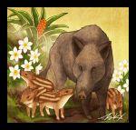 animal animal_focus black_border boar border flower grass no_humans original plant signature takigraphic white_flower