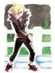 1boy asymmetrical_bangs bangs black_pants blonde_hair day fence gladio_(pokemon) green_eyes hk_(nt) long_sleeves outdoors pants pokemon pokemon_(game) pokemon_sm pose red_footwear shoes solo
