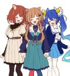 3girls :d ^_^ amamiya_kokoro animal_ears bangs bell blue_bow blue_hair blue_jacket blue_legwear blue_ribbon blue_shirt blue_skirt blush bow brown_dress brown_eyes brown_hair brown_legwear closed_eyes commentary_request deer_ears dress eli_conifer eyebrows_visible_through_hair fang flower girl_sandwich gradient_hair hair_bell hair_ornament hair_ribbon hairclip holding_hands interlocked_fingers jacket jingle_bell long_hair long_sleeves mismatched_legwear multicolored_hair multiple_girls nijisanji open_clothes open_jacket open_mouth pantyhose pleated_dress pleated_skirt puffy_long_sleeves puffy_short_sleeves puffy_sleeves ratna_petit red_legwear red_panda_ears red_ribbon ribbon sandwiched shirt short_over_long_sleeves short_sleeves simple_background skirt sleeves_past_wrists smile striped thigh-highs twintails vertical-striped_skirt vertical_stripes very_long_hair virtual_youtuber white_background white_flower white_legwear white_neckwear white_ribbon white_shirt x_hair_ornament yamabukiiro yellow_ribbon