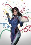 1girl absurdres bangs birthday_cake black_hair blue_bodysuit bodysuit breasts brown_eyes cake confetti cowboy_shot cream d.va_(overwatch) facepaint food happy_birthday headphones highres lips long_hair medium_breasts overwatch pilot_suit realistic ribbed_bodysuit shoulder_pads solo standing sunghoon_hong swept_bangs whisker_markings