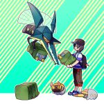1boy baseball_cap black_eyes black_hair charjabug creature diagonal-striped_background diagonal_stripes flying grubbin hat hk_(nt) holding holding_pokemon pokemon pokemon_(creature) pokemon_(game) pokemon_sm shirt shoes standing striped striped_background striped_shirt vikavolt you_(pokemon)