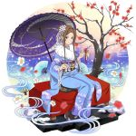 1girl arrow black_legwear blue_kimono brown_hair closed_mouth floral_print flower full_body fur-trimmed_kimono fur_trim furisode hair_flower hair_intakes hair_ornament hair_ribbon highres holding_arrow japanese_clothes kimono looking_at_viewer obi official_art oriental_umbrella print_kimono purple_umbrella red_flower ribbon sash short_hair_with_long_locks sidelocks sitting smile solo sortiliena_serlut sword_art_online tabi transparent_background tree umbrella violet_eyes white_flower white_ribbon