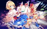 6+girls alice_margatroid artist_name bangs blonde_hair blue_dress blue_eyes blush book bow capelet dress eyebrows_visible_through_hair flower frilled_hairband frills hair_between_eyes hair_bow hairband hand_up holding holding_weapon lance lolita_hairband long_hair looking_at_viewer multiple_girls petticoat pink_flower polearm red_bow red_hairband red_sash sash shanghai_doll short_hair timins touhou twitter_username weapon white_capelet wrist_cuffs