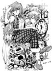 1girl blackcat_(pixiv) chain clock closed_eyes crossed_legs dated dual_persona eyebrows_visible_through_hair greyscale hair_between_eyes hat kazami_yuuka kazami_yuuka_(pc-98) long_hair looking_at_viewer mary_janes monochrome nightcap open_clothes open_vest pants pillow plaid plaid_pants plant pocket_watch roman_numerals roots shoes short_sleeves sitting skull skull_pile sleeping smile touhou touhou_(pc-98) vest vines watch white_background