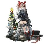 1girl alternate_costume antlers bangs black_footwear black_gloves boots christmas christmas_ornaments christmas_tree cross-laced_footwear earmuffs expressionless girls_frontline glasses gloves grey_hair gun h&k_hk21 hair_ornament hair_over_one_eye hairband hk21_(girls_frontline) holding holding_gun holding_weapon jacket jewelry knee_pads load_bearing_equipment long_hair long_jacket long_sleeves looking_at_viewer merry_christmas official_art plate_carrier red_hairband red_legwear robot round_eyewear sidelocks sitting socks solo star thighs transparent_background turtleneck twintails violet_eyes weapon white-framed_eyewear white_jacket xiao_chichi