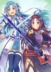 2girls :d ahoge asuna_(sao-alo) bangs bare_shoulders blue_eyes blue_hair blue_legwear blush body_armor breastplate breasts commentary_request cowboy_shot detached_sleeves dress eyebrows_behind_hair fingerless_gloves gloves grin hair_intakes hairband half_updo highres holding holding_sword holding_weapon inuro_neko_(kuro-nyan) leotard long_hair looking_at_viewer medium_breasts multiple_girls open_mouth parted_bangs pointy_ears purple_gloves purple_hair purple_leotard purple_skirt purple_sleeves rapier red_eyes red_hairband side_slit skirt smile sword sword_art_online thigh-highs weapon white_dress white_sleeves yuuki_(sao) zettai_ryouiki
