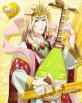 blonde_hair blue_eyes character_name idolmaster idolmaster_side-m long_hair lute_(instrument) tsuzuki_kei yukata