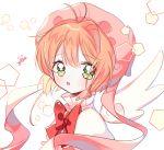 1girl blush bow cardcaptor_sakura green_eyes kinomoto_sakura looking_at_viewer magical_girl orange_hair parted_lips pentagon_(shape) pink_headwear red_bow solo upper_body white_background wings yalmyu