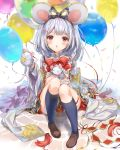 1girl animal_ears balloon bangs black_legwear bow brown_footwear cheese confetti crop_top fake_animal_ears food granblue_fantasy hair_bow hair_ornament hairclip headband highres holding long_sleeves miniskirt ooluoul rat red_eyes silver_hair sitting skirt solo vikala_(granblue_fantasy) white_background