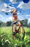 1girl absurdres bicycle blue_sky brown_hair clouds cloudy_sky flying_sweatdrops gloves grass ground_vehicle haruka_(pokemon) highres ligton1225 medium_hair open_mouth outdoors pokemon pokemon_(game) pokemon_rse red_footwear sky smile tree white_gloves
