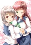 2girls :d ;q asymmetrical_docking bangs blue_sailor_collar blue_skirt blush bow breast_press breasts brown_eyes brown_hair closed_mouth commentary_request crossover eyebrows_visible_through_hair flower gochuumon_wa_usagi_desu_ka? green_bow green_eyes green_ribbon grey_hair hair_bow hair_flower hair_ornament highres holding_hands interlocked_fingers koisuru_asteroid large_breasts long_hair long_sleeves looking_at_viewer medium_breasts morino_mari multiple_girls neck_ribbon one_eye_closed open_mouth pleated_skirt ribbon sailor_collar school_uniform serafuku shirt skirt smile tongue tongue_out ujimatsu_chiya very_long_hair white_flower white_shirt zenon_(for_achieve)