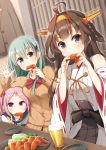 3girls ahoge alcohol aqua_eyes aqua_hair bangs beer blush breasts brown_hair chicken_(food) commentary_request cup detached_sleeves dish double_bun eating eyebrows_visible_through_hair food food_in_mouth grey_eyes hair_bobbles hair_ornament hairband hairclip headgear highres indoors japanese_clothes kantai_collection kongou_(kantai_collection) long_hair long_sleeves looking_at_viewer multiple_girls nontraditional_miko pink_eyes pink_hair remodel_(kantai_collection) ribbon-trimmed_sleeves ribbon_trim sazanami_(kantai_collection) school_uniform serafuku short_hair suzuya_(kantai_collection) twintails v vegetable yume_no_owari