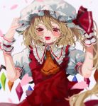 1girl ascot bangs blonde_hair blurry blush crystal fangs flandre_scarlet frills grey_background hair_between_eyes hat hat_ribbon highres long_hair mob_cap open_mouth orange_neckwear petals ponytail puffy_short_sleeves puffy_sleeves red_eyes red_vest ribbon shirt short_sleeves side_ponytail solo touhou upper_body vest wabun white_headwear white_shirt wings