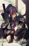 1girl animal bangs black_footwear black_hair black_jacket bullpup collared_shirt commentary_request day diagonal-striped_neckwear diagonal_stripes dog dress_shirt eyebrows_behind_hair finger_on_trigger gloves goggles green_gloves grey_legwear grin groin gun headset high_ponytail highres hironii_(hirofactory) holding holding_gun holding_weapon jacket jacket_on_shoulders kneeling loafers long_hair looking_at_viewer multicolored_hair necktie original outdoors p90 panties pink_panties ponytail red_eyes red_neckwear redhead shirt shoes sidelocks smile solo streaked_hair striped striped_neckwear submachine_gun thigh-highs underwear weapon white_shirt