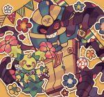 blush candy candy_cane cofagrigus creature flower food gen_5_pokemon holding_lollipop maractus maru_(umc_a) no_humans pokemon pokemon_(creature)
