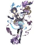 1girl alice_(sinoalice) asymmetrical_legwear dark_blue_hair dress expressionless frilled_dress frilled_hairband frills full_body hairband hat holding holding_staff ji_no navel_cutout official_art rabbit red_eyes short_hair sinoalice smoke solo staff tattoo top_hat transparent_background