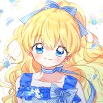1girl aruhi_ohimesama_ni_natteshimatta_ken_ni_tsuite athanasia_de_alger_obelia bangs blonde_hair blue_bow blue_eyes blue_flower blue_frills blush bow check_copyright dress eyebrows_visible_through_hair flower frills hair_bow long_hair looking_at_viewer sleeveless sleeveless_dress smile solo striped striped_bow upper_body white_dress white_flower yalmyu yellow_flower