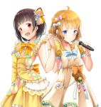 2girls :d ahoge black_hair blonde_hair blue_bow blue_eyes bow brown_hair dress dress_bow flower frilled_dress frills hair_bow hair_flower hair_ornament hands_up holding holding_hands holding_microphone idolmaster idolmaster_million_live! idolmaster_million_live!_theater_days kuro_n314 looking_at_viewer microphone multiple_girls nakatani_iku open_mouth orange_bow pocket puffy_short_sleeves puffy_sleeves red_eyes short_hair short_sleeves simple_background sleeveless sleeveless_dress smile standing suou_momoko white_background wristband yellow_bow