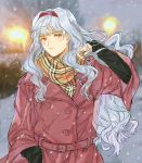 1girl coat earrings hairband hand_up idolmaster idolmaster_(classic) jewelry jyuv light long_hair scarf shijou_takane silver_hair snow snowing solo winter