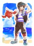 1boy backpack bag beach black_hair blue_sky clouds cloudy_sky creature day floating gen_4_pokemon hk_(nt) ocean outdoors pokedex pokemon pokemon_(creature) pokemon_(game) pokemon_sm rotom rotom_dex sand shirt shoes sky striped striped_shirt you_(pokemon)
