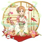 1girl :d asuna_(sao) bangs blush braid brown_eyes brown_hair crown_braid floral_print flower full_body gradient_kimono hair_between_eyes hair_flower hair_ornament highres japanese_clothes kimono kneeling long_sleeves looking_at_viewer official_art one_side_up open_mouth pink_flower print_kimono short_hair_with_long_locks sidelocks smile solo sword_art_online transparent_background wide_sleeves