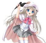 1girl :d bangs blue_eyes cape cowboy_shot dress_shirt eyebrows_visible_through_hair grey_skirt hat hat_ribbon highres holding holding_microphone kud_wafter leaning_forward little_busters! looking_at_viewer microphone miniskirt na-ga noumi_kudryavka open_mouth pink_neckwear plaid plaid_skirt pleated_skirt purple_ribbon ribbon school_uniform shirt simple_background skirt smile solo standing thigh-highs white_background white_cape white_headwear white_legwear white_shirt zettai_ryouiki