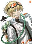 1boy blonde_hair commentary_request extraspiky eyebrows_visible_through_hair gloves goggles goggles_on_head green_eyes highres jacket looking_at_viewer male_focus original oxygen_mask oxygen_tank plant white_background white_gloves white_jacket