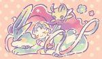 1girl bangs celebi creature crystal_(pokemon) flying gen_2_pokemon legendary_pokemon long_sleeves maru_(umc_a) pokemon pokemon_(creature) pokemon_(game) pokemon_gsc polka_dot polka_dot_background shorts smile suicune twintails