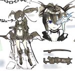 1girl black_choker black_coat black_eyes black_gloves black_hair black_rock_shooter black_shorts blue_eyes blue_fire boots broken broken_chain chain choker closed_mouth coat collarbone dual_wielding fire gloves hair_between_eyes holding holding_sword holding_weapon long_hair navel parted_lips short_shorts shorts so_ki_chi solo standing sword twintails weapon