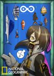 1girl absurdres anchor_earrings arknights brown_hair clownfish earrings fish gasmask_cowboy gloves grey_gloves highres jewelry lanyaojun magallan_(arknights) medium_hair national_geographic original plague_doctor_mask single_earring solo sparkle swordfish yellow_eyes