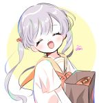 1girl bag bangs bread circle closed_eyes food grey_hair long_hair looking_at_viewer open_mouth orange_sailor_collar original paper_bag sailor_collar shirt short_sleeves solo twintails upper_body white_shirt yalmyu