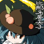 1girl artist_name bangs black_headwear blue_hair character_name face food fruit hair_between_eyes hinanawi_tenshi huxiao_(mistlakefront) long_hair looking_at_viewer number peach red_eyes simple_background smile solo touhou