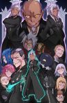 1girl 1other 6+boys absurdres ansem_seeker_of_darkness aura black_coat black_coat_(kingdom_hearts) blonde_hair card commentary demyx english_commentary evil_smile eyepatch facial_hair glowing glowing_eyes goatee highres hood hood_up keyblade kingdom_hearts kingdom_hearts_iii larxene lightsource luxord marluxia mask master_xehanort multiple_boys organization_xiii pink_hair pointy_ears possessed riku_replica saix scar silver_hair smile spiky_hair terra_(kingdom_hearts) vanitas vexen xehanort xemnas xigbar xion_(kingdom_hearts) yellow_eyes