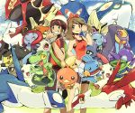 1boy 1girl breasts brown_hair creature duskull frown grey_eyes grin groudon haruka_(pokemon) illumise kyogre latias latios legendary_pokemon looking_at_viewer lotad lunatone mawile minun mizuto_(o96ap) mudkip one_eye_closed plusle pokemon pokemon_(creature) pokemon_(game) pokemon_oras primal_groudon primal_kyogre sableye seedot seviper shuppet small_breasts smile solrock torchic treecko volbeat white_headwear yellow_eyes yuuki_(pokemon) zangoose