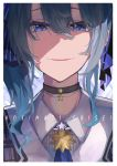 1girl absurdres bangs blue_eyes blue_hair blue_neckwear character_name choker evil_smile hair_between_eyes highres hololive hoshimachi_suisei huge_filesize looking_at_viewer medium_hair necktie smile solo star suisei_channel tsumeki virtual_youtuber