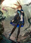 1girl amiya_(arknights) animal_ears arknights bangs black_footwear black_jacket black_skirt blue_eyes blurry blurry_background brown_hair brown_legwear commentary_request depth_of_field floating_hair hair_between_eyes hand_up highres jacket long_hair long_sleeves looking_away looking_to_the_side open_clothes open_jacket pantyhose parted_lips pleated_skirt ponytail rabbit_ears shirt shoes skirt solo standing very_long_hair white_shirt yano_mitsuki