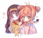 2girls applying_makeup bangs black_hair blunt_bangs cardcaptor_sakura cropped_torso daidouji_tomoyo eyebrows_visible_through_hair green_eyes hairband heart kero kinomoto_sakura long_hair multiple_girls orange_hair short_hair short_twintails simple_background smile twintails upper_body violet_eyes white_background yalmyu yellow_hairband
