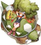 1girl arms_behind_head arms_up bag closed_eyes closed_mouth highres hikari_(pokemon) ligton1225 lying moss on_back pink_footwear poke_ball pokemon pokemon_(game) red_scarf scarf smile torterra tree yellow_bag