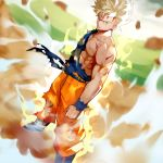 1boy 55level aqua_eyes aura blonde_hair blood blood_from_mouth boots clenched_hand cuts dougi dragon_ball dragon_ball_z dutch_angle floating_rock highres injury looking_at_viewer male_focus muscle pants sash serious solo son_gokuu spiky_hair super_saiyan torn_clothes torn_pants wristband