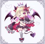 1girl ;q bangs black_bow black_skirt black_sleeves black_wings blonde_hair blush boots bow chibi closed_mouth commentary_request demon_girl demon_horns demon_tail demon_wings detached_sleeves eyebrows_visible_through_hair full_body hair_between_eyes hair_bow horns long_hair long_sleeves multicolored_hair one_eye_closed original pleated_skirt purple_hair red_bow red_eyes shikito skirt sleeves_past_fingers sleeves_past_wrists smile solo standing standing_on_one_leg tail thigh-highs thigh_boots tongue tongue_out two-tone_hair white_background white_footwear white_legwear wings