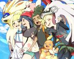 2boys 2girls :d alolan_form alolan_raichu bewear biting black_hair black_shirt blonde_hair blue_sky breasts clouds cloudy_sky creature day gen_7_pokemon gladio_(pokemon) happy hau_(pokemon) highres hug lillie_(pokemon) long_sleeves mizuki_(pokemon) mizuto_(o96ap) multiple_boys multiple_girls open_mouth outdoors pokemon pokemon_(creature) pokemon_(game) pokemon_sm shirt sky small_breasts smile solgaleo tied_hair tied_shirt walking