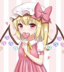 1girl alternate_color alternate_costume arm_up blonde_hair blush candy clothes_writing commentary_request covering_mouth dress english_text eyebrows_visible_through_hair flandre_scarlet food frilled_shirt_collar frills hair_between_eyes hat hat_ribbon heart highres holding_candy lollipop looking_at_viewer mob_cap nyanyanoruru one_side_up pinafore_dress pink_background pink_dress puffy_short_sleeves puffy_sleeves red_eyes ribbon shiny shiny_hair short_hair short_sleeves solo standing striped striped_background touhou upper_body vertical-striped_background vertical_stripes white_headwear wings yellow_neckwear yellow_ribbon